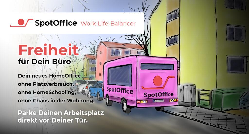 Ein Spot-Office-Wagen steht in einer Anwohnerstraße