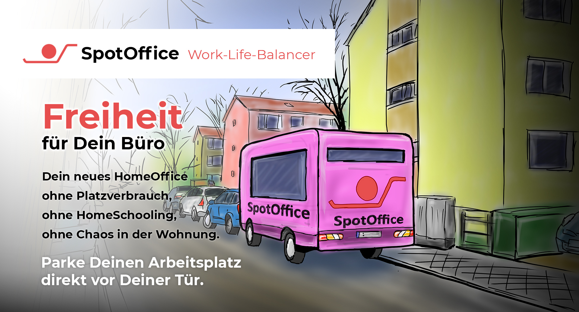 Office ohne Berufsverkehr, ohne Großraumbüro, ohne Stress